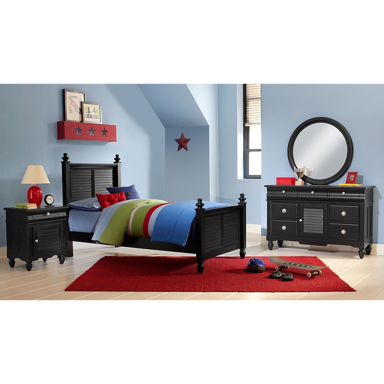 Kids Furniture - Seaside 6-Piece Twin Bedroom Set - Black