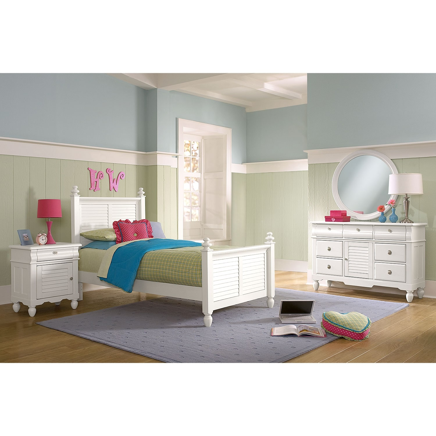 Kids Furniture - Seaside 6-Piece Twin Bedroom Set - White