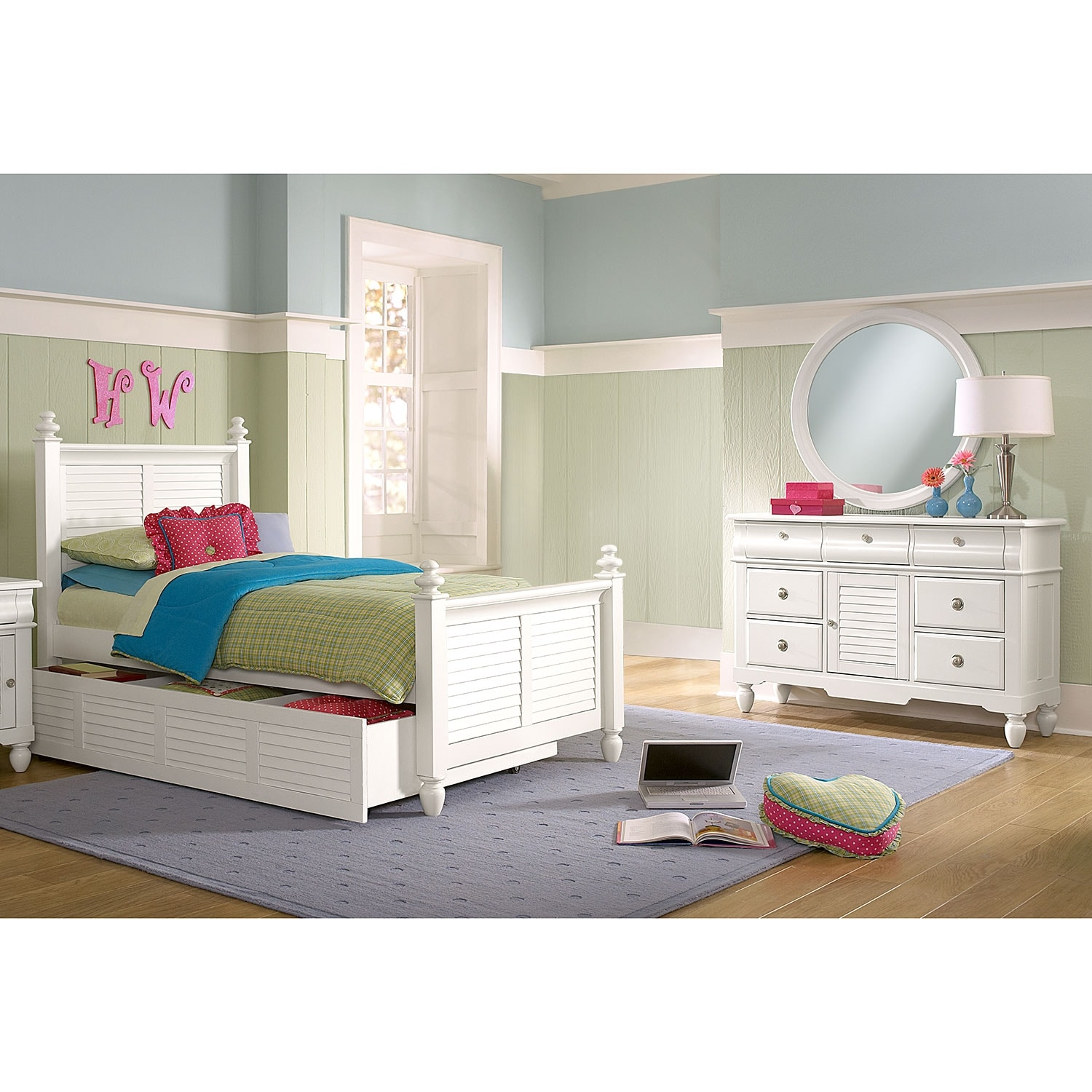 Kids Furniture - Seaside 6-Piece Twin Bedroom with Twin Trundle - White