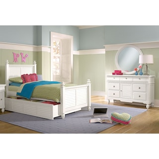 Seaside 6-Piece Twin Bedroom with Twin Trundle - White
