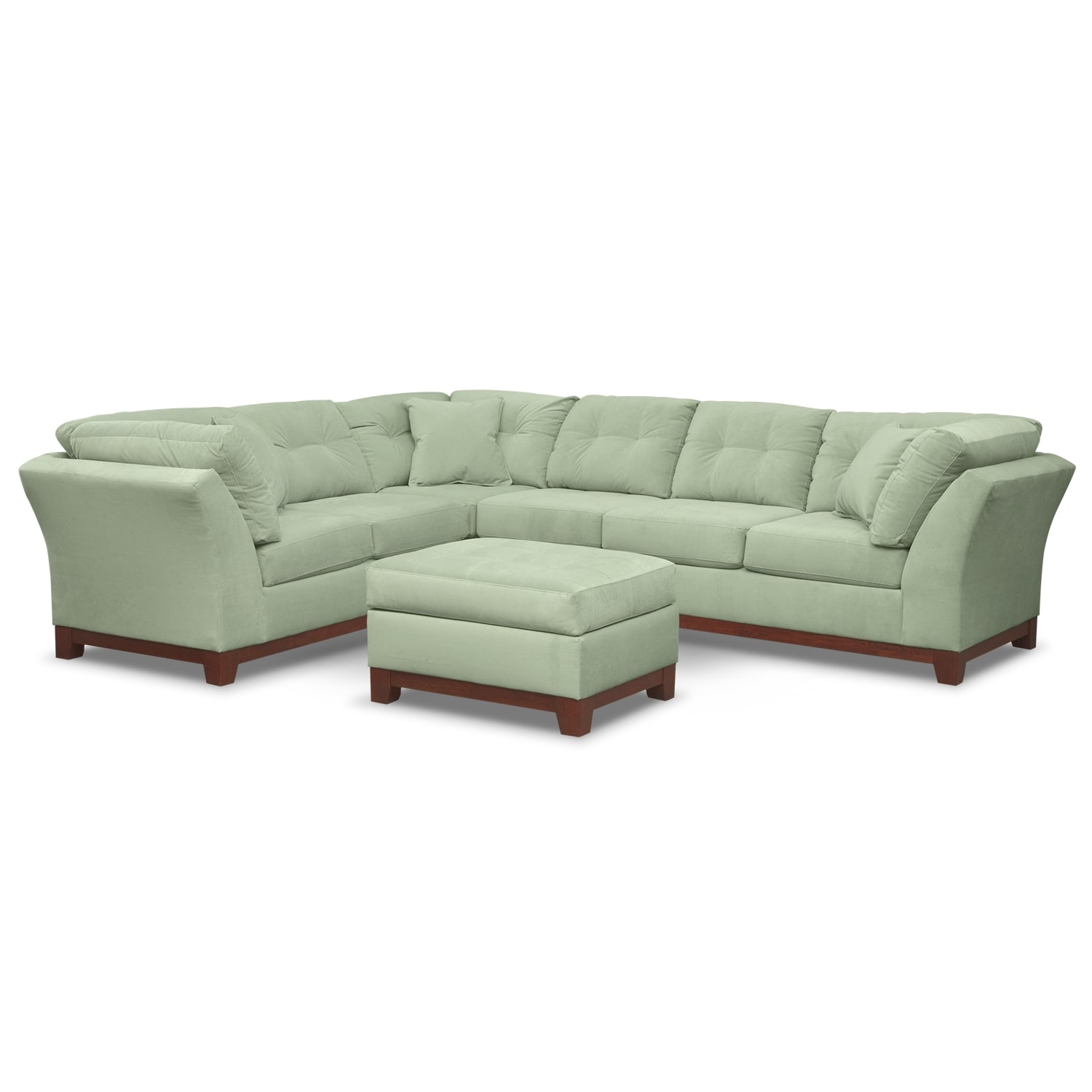 Living Room Furniture - Solace Spa II 3 Pc. Sectional and Ottoman