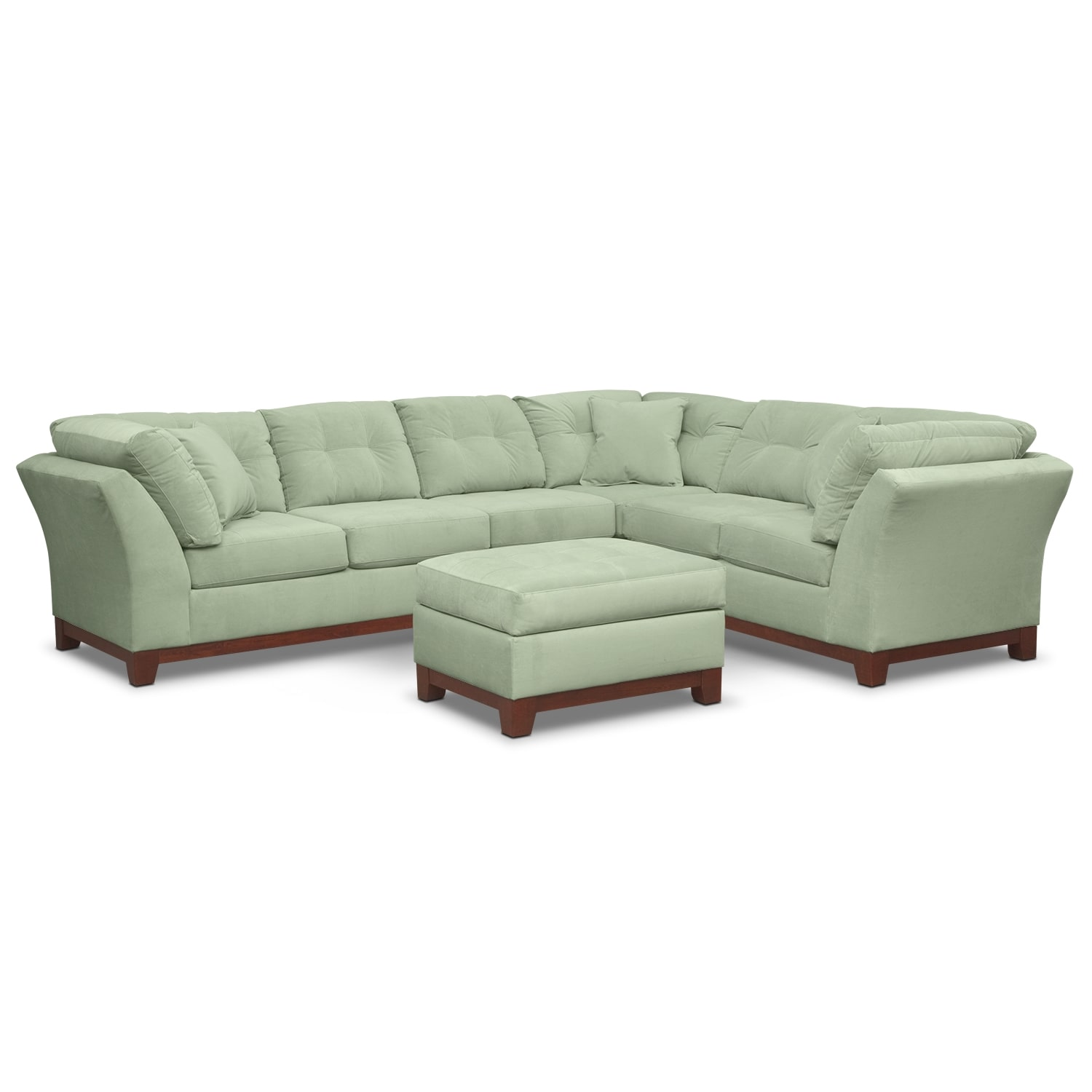Living Room Furniture - Solace 3-Piece Sectional with Left-Facing Sofa and Ottoman Set - Spa