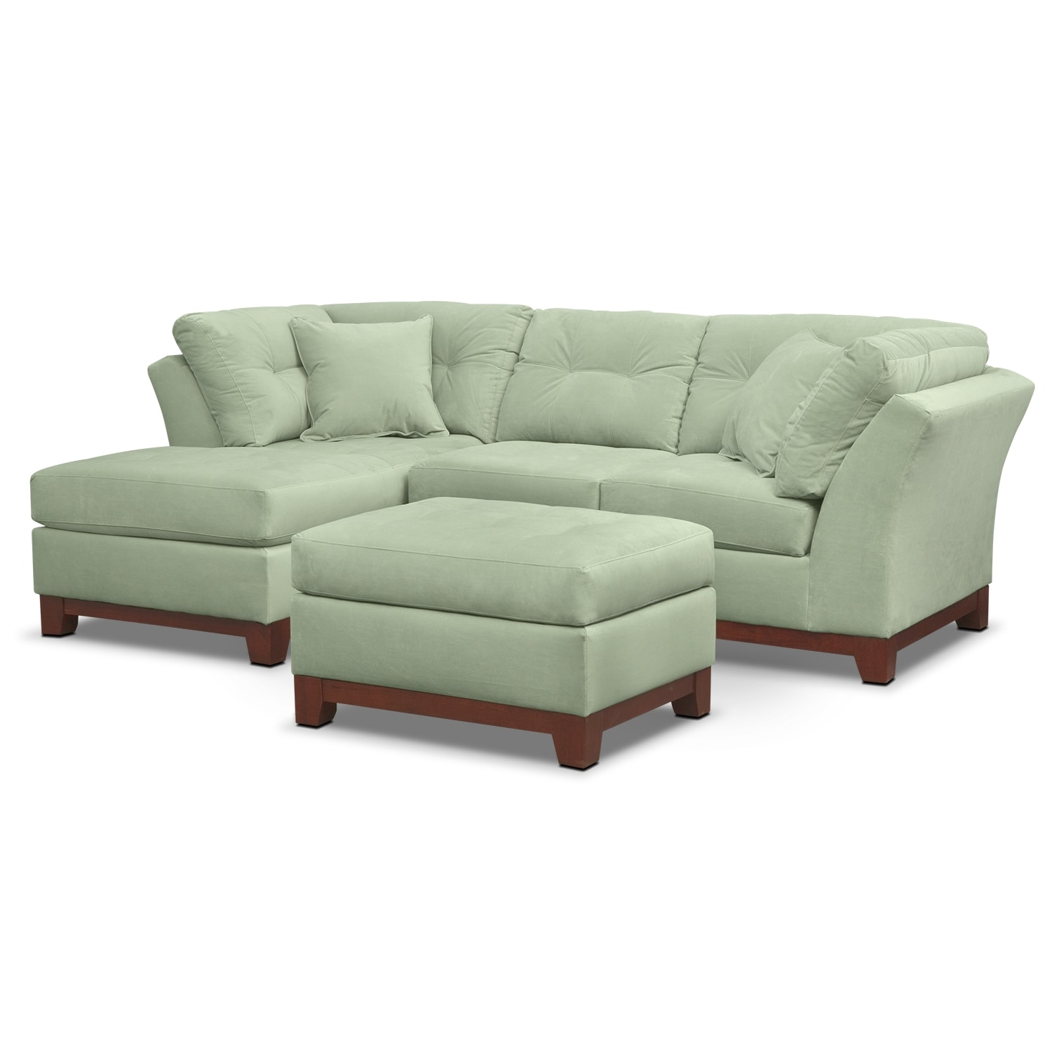 Living Room Furniture - Solace 2-Piece Sectional with Left-Facing Chaise and Ottoman Set - Spa