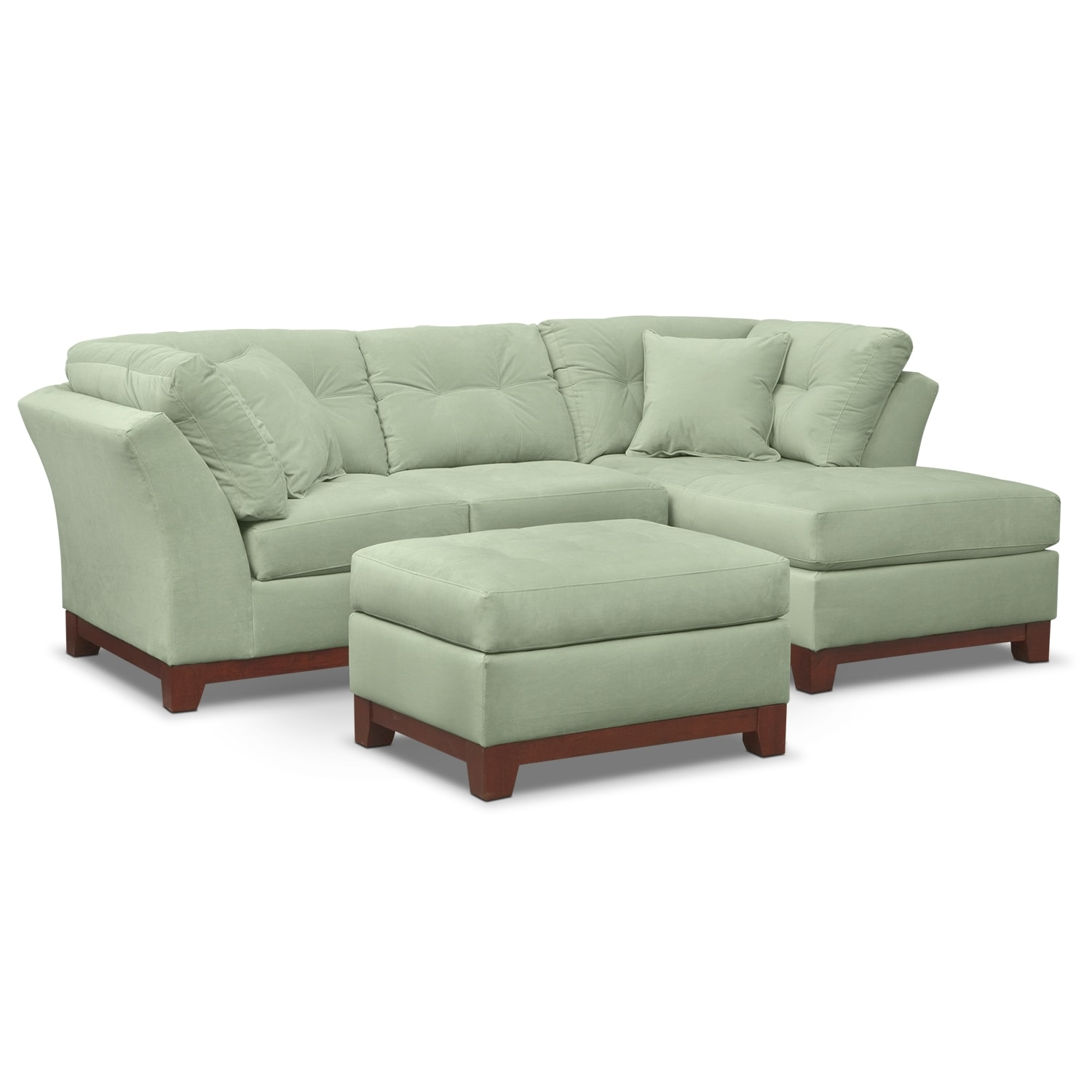 Living Room Furniture - Solace Spa II 2 Pc. Sectional (Alternate Reverse) and Ottoman