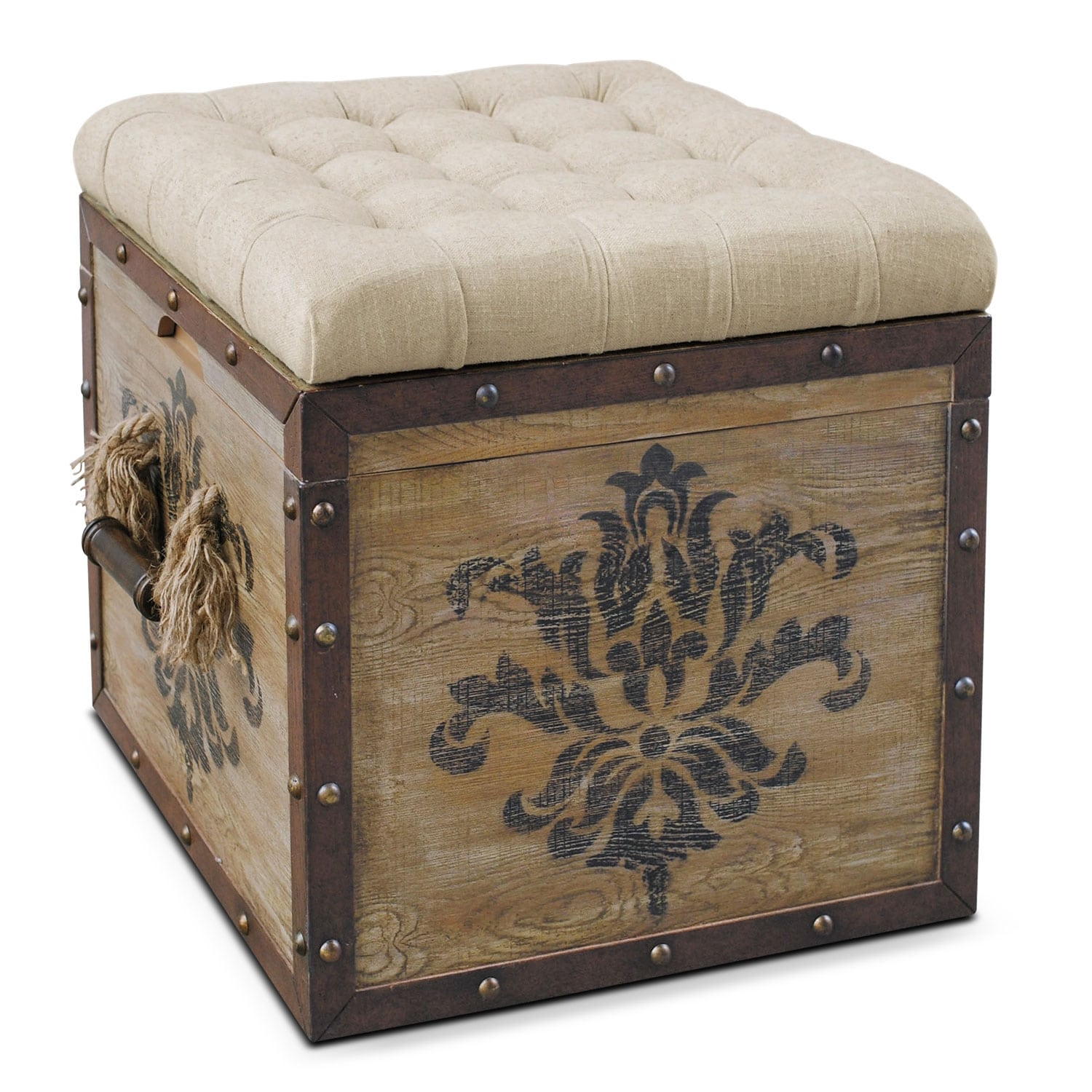 Accent and Occasional Furniture - Teca Storage Ottoman - Rustic