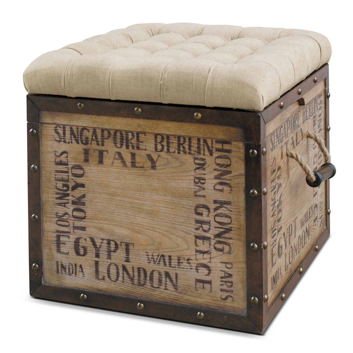 Accent and Occasional Furniture - Teca Storage Cube Ottoman