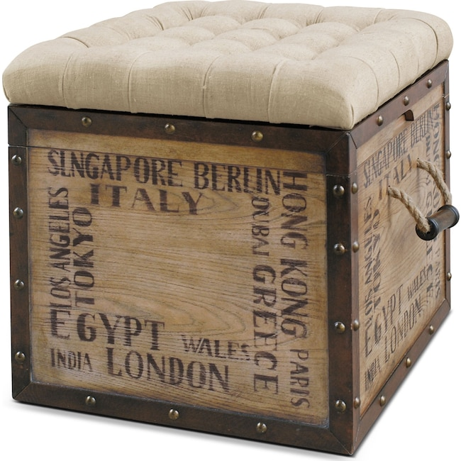 Accent and Occasional Furniture - Teca Storage Ottoman - Script