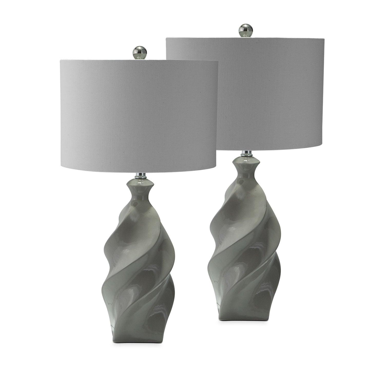 Gray Ceramic 2-Pack Table Lamp Set