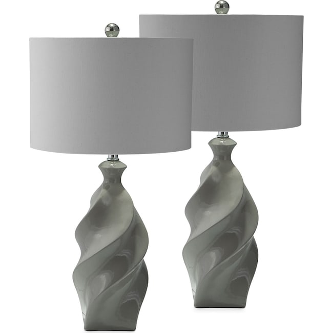 Home Accessories - Gray Ceramic 2-Pack Table Lamp Set