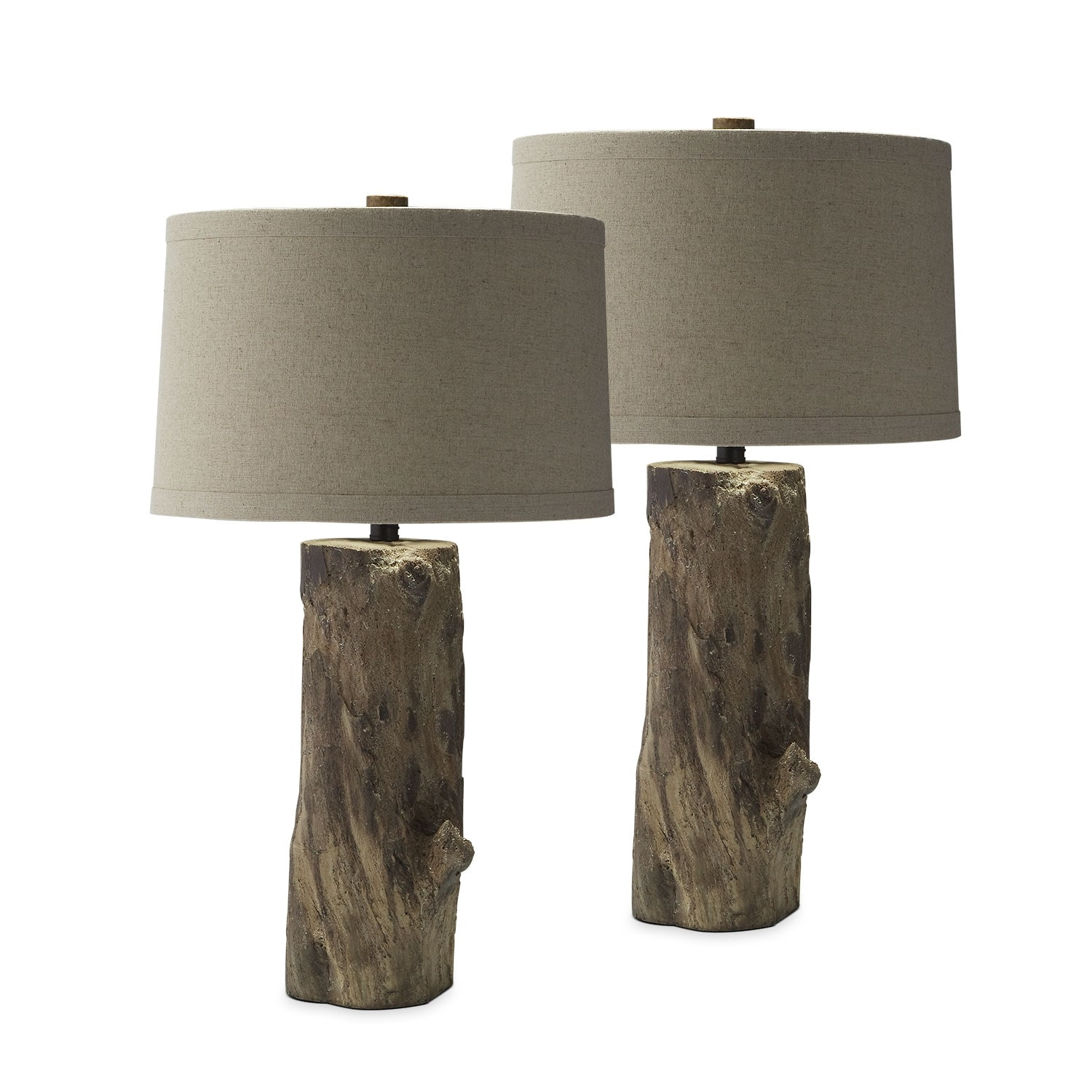 Home Accessories - Faux Wood Stump 2-Pack Table Lamps