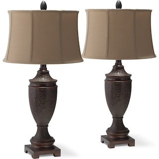Brown Urn 2-Pack Table Lamp Set