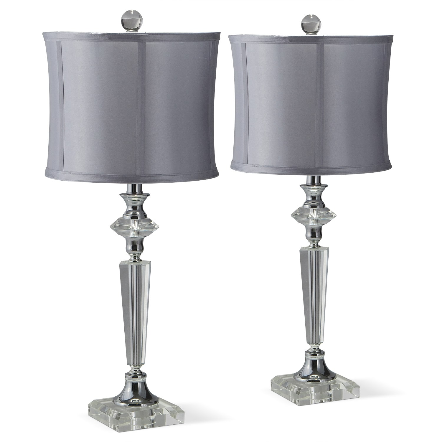 Crystal Silver 2-Pack Table Lamp Set