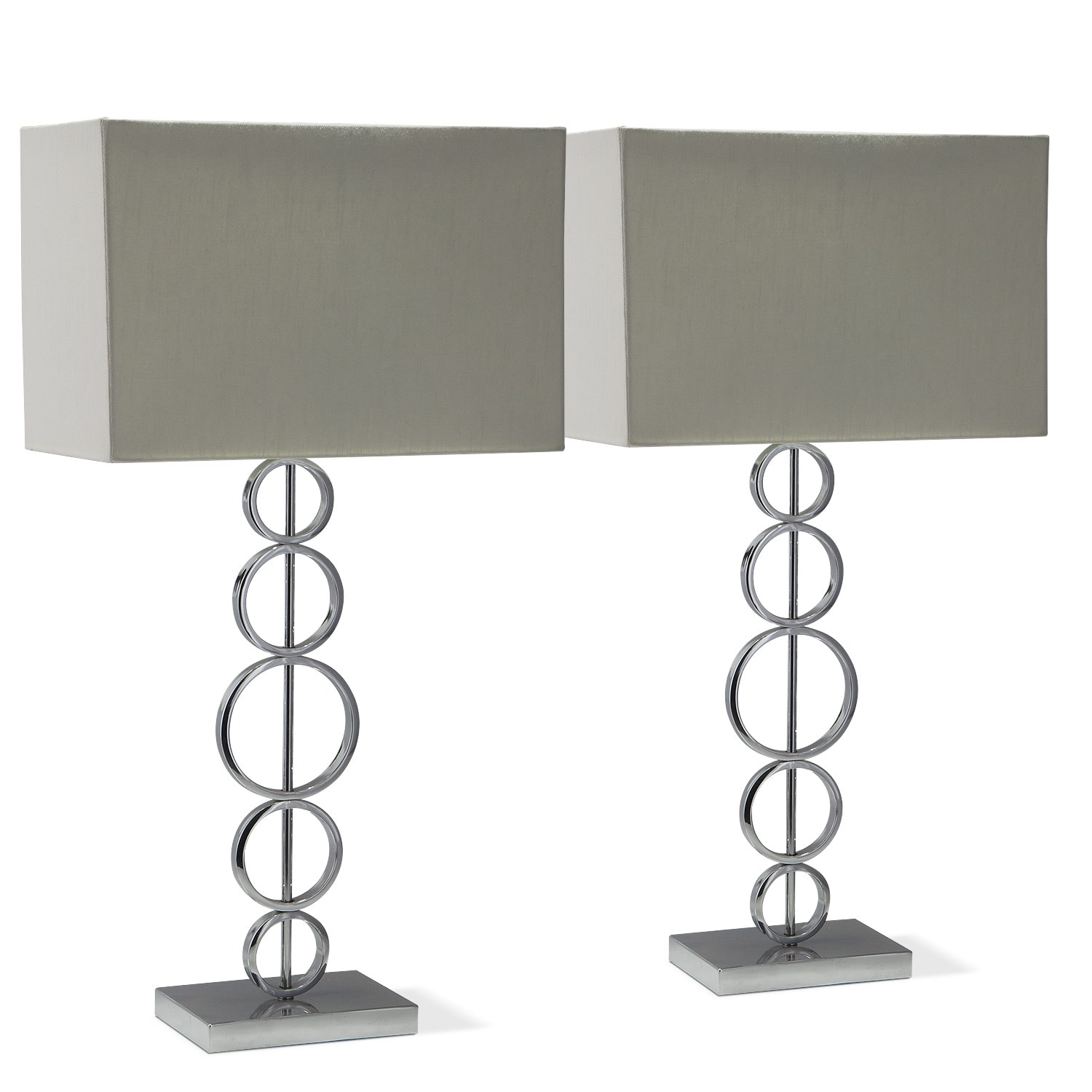 Home Accessories - Chrome Circle 2-Pack Table Lamp Set