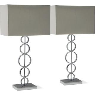 Chrome Circle 2-Pack Table Lamp Set