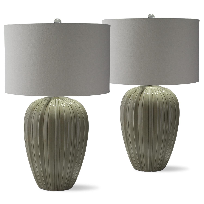 Gray Brown Ceramic 2-Pack Table Lamp Set