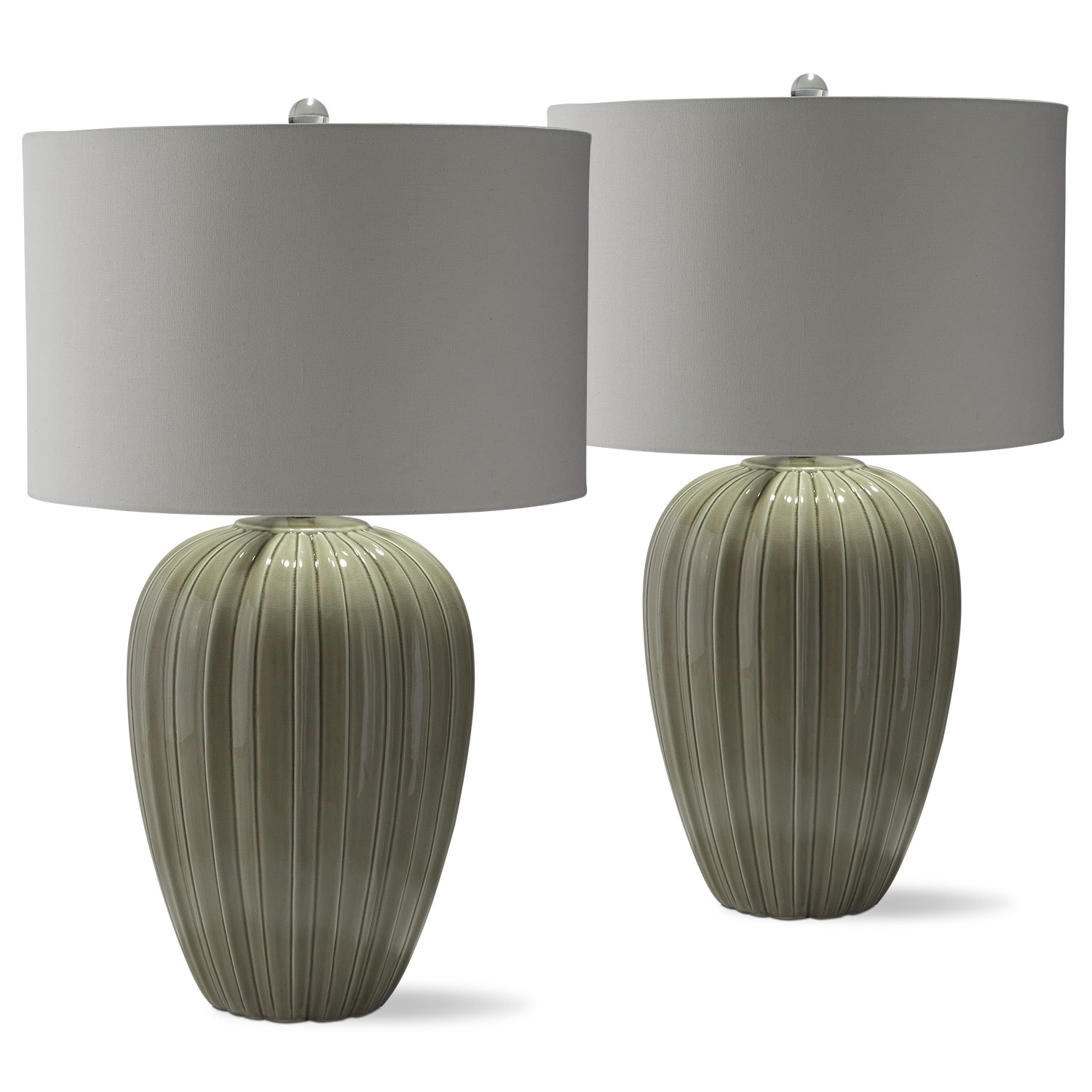Home Accessories - Gray Brown Ceramic 2-Pack Table Lamps