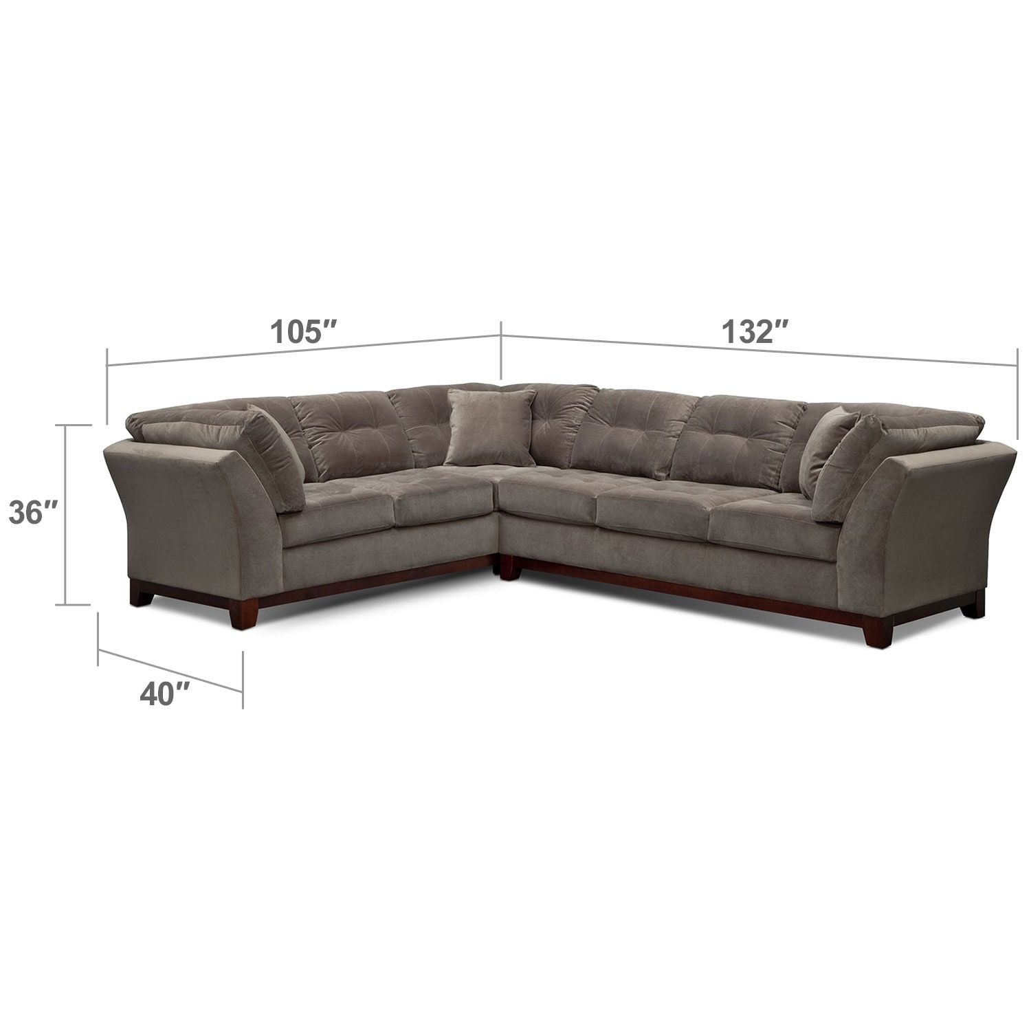 "Living Room Furniture - Solace 2-Piece Right-Facing 132"" Sofa Sectional - Gray"
