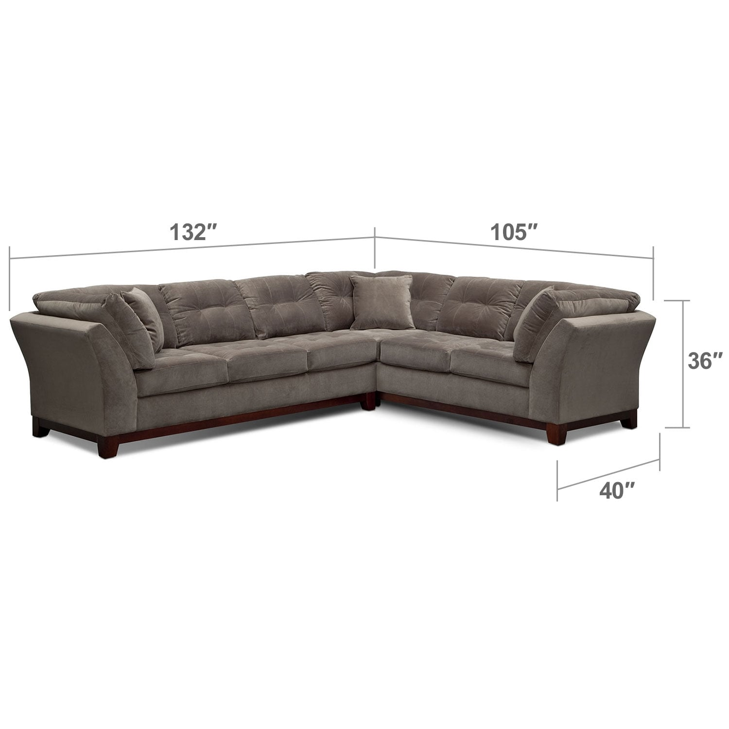 Living Room Furniture - Solace Gray II 2 Pc. Sectional (Reverse)