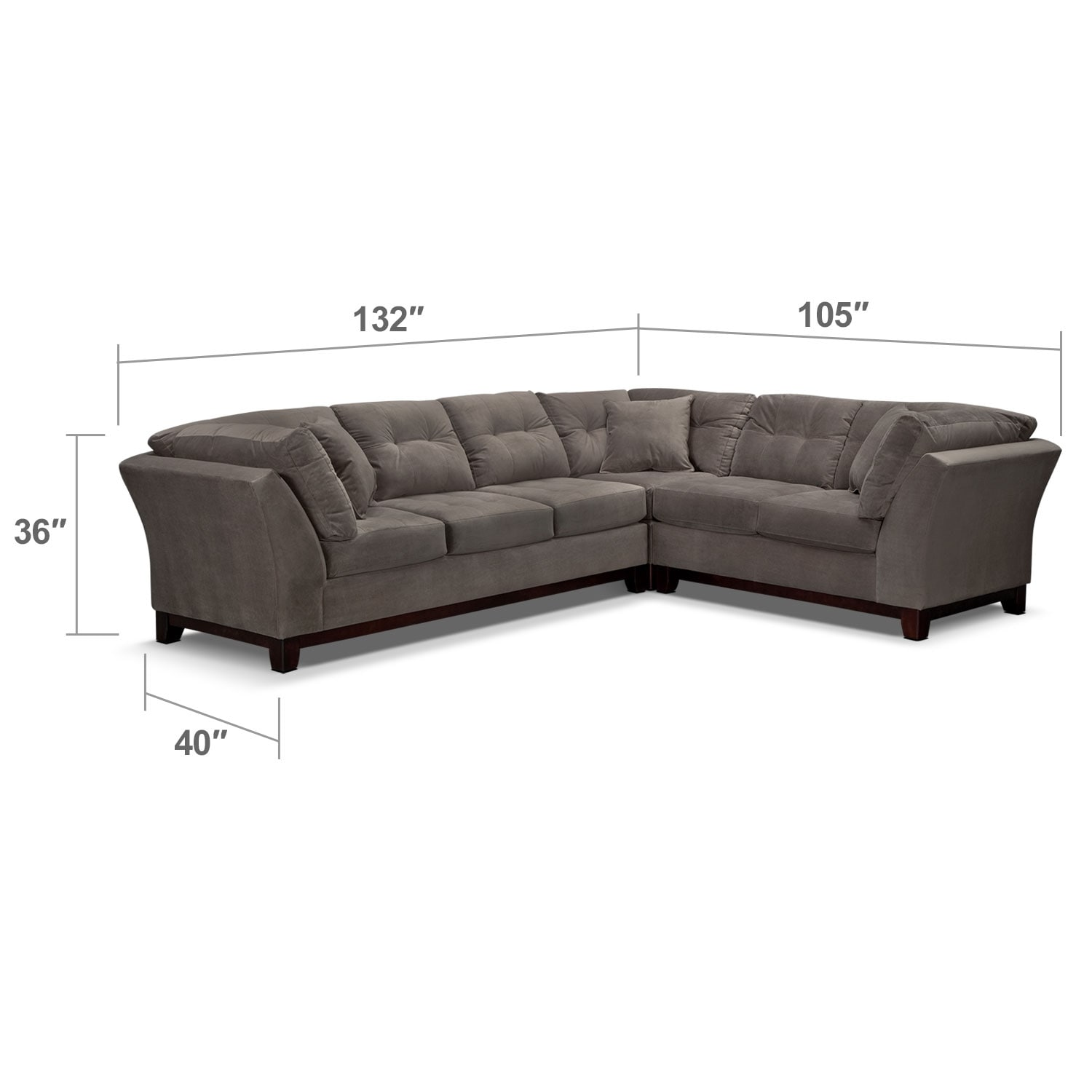 Living Room Furniture - Solace 3-Piece Left-Facing Sofa Sectional - Gray