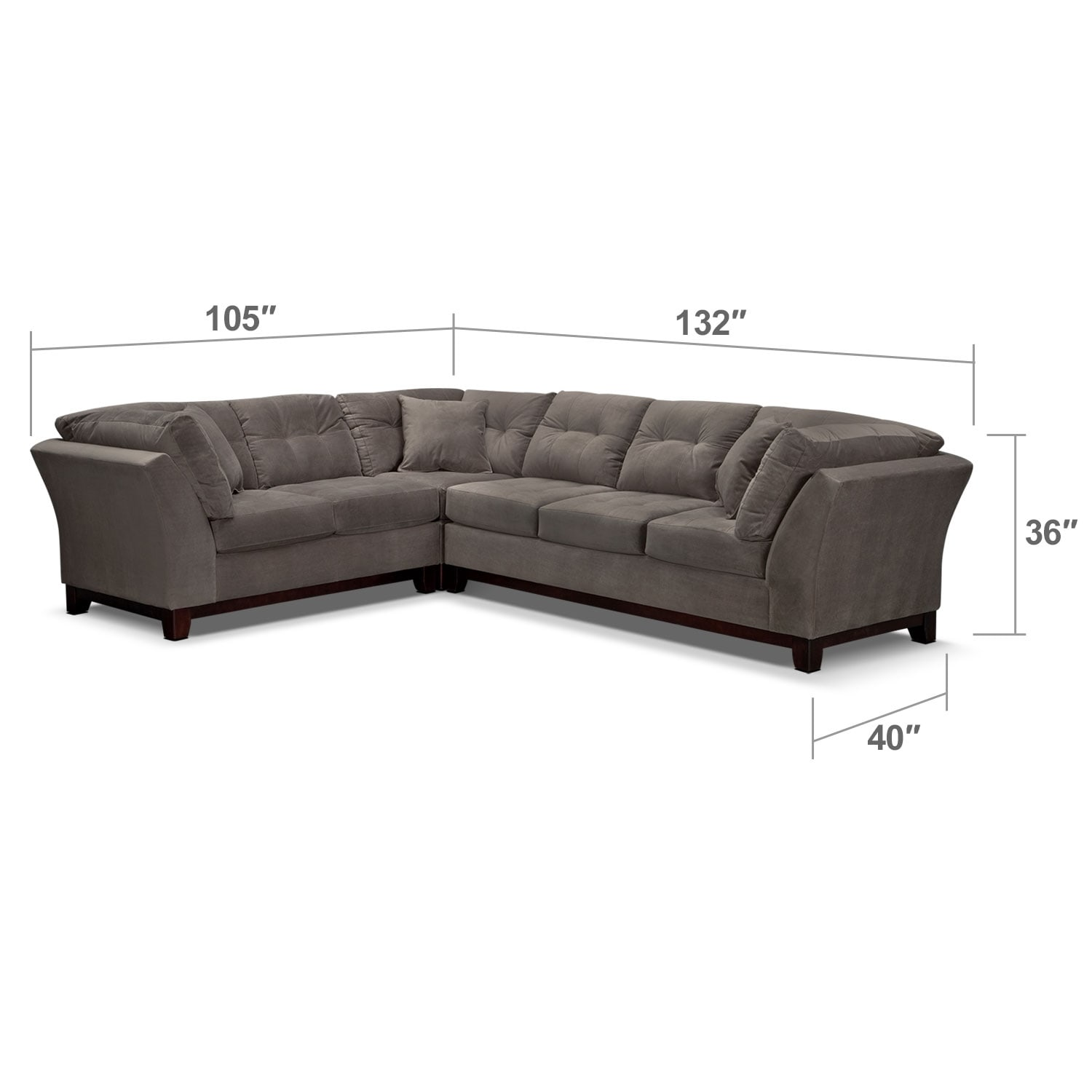 Living Room Furniture - Solace 3-Piece Right-Facing Sofa Sectional - Gray