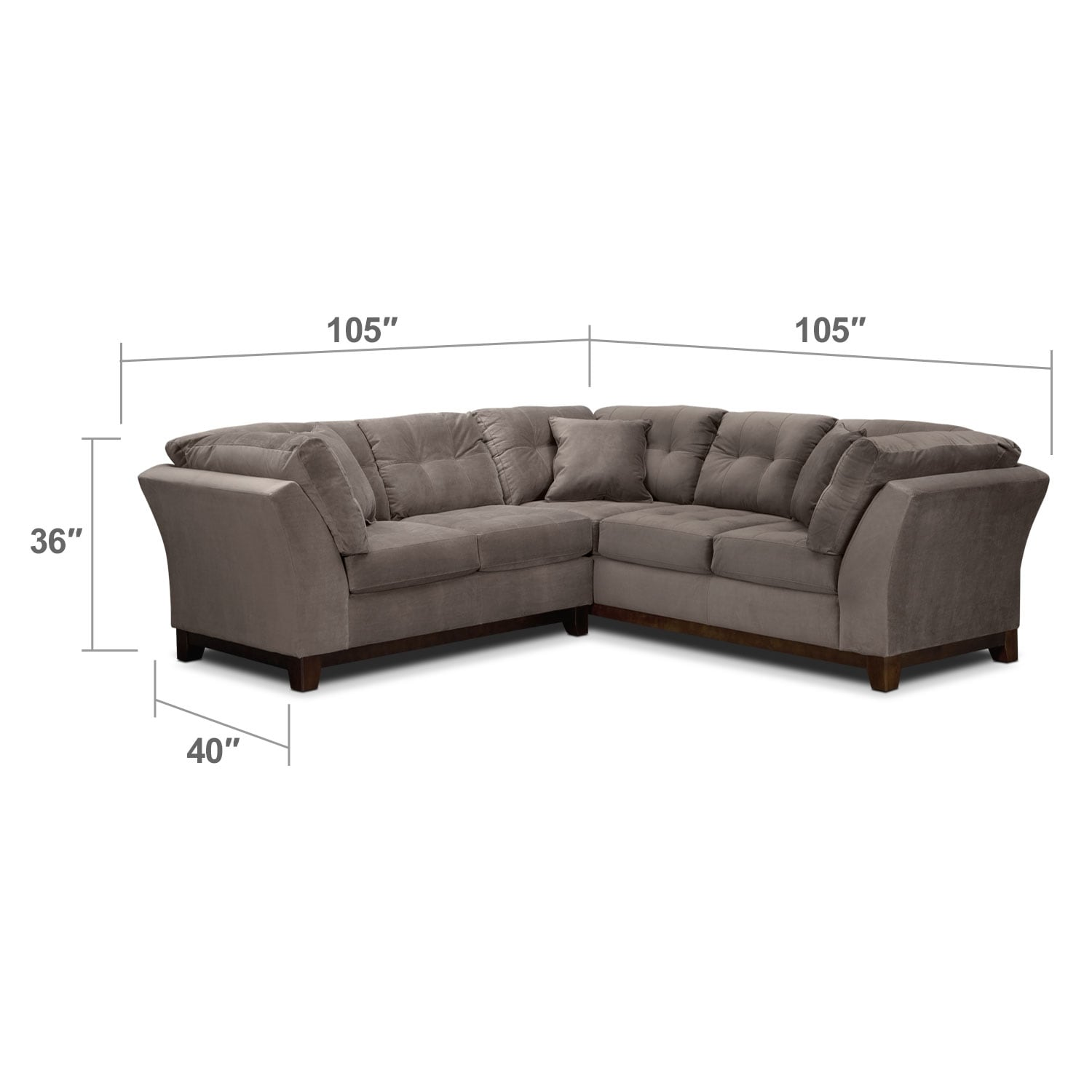 Living Room Furniture - Solace Gray II 2 Pc. Sectional (Alternate II)