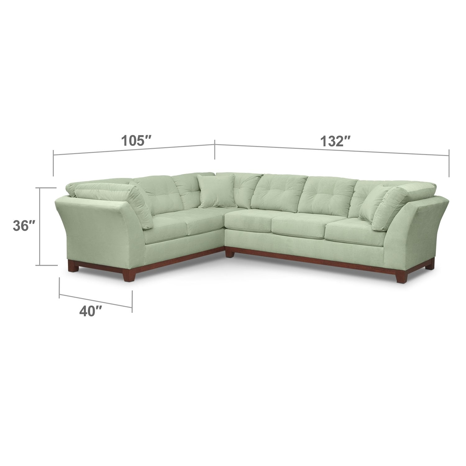 """Living Room Furniture - Solace 2-Piece Right-Facing 132"""" Sofa Sectional - Spa"""