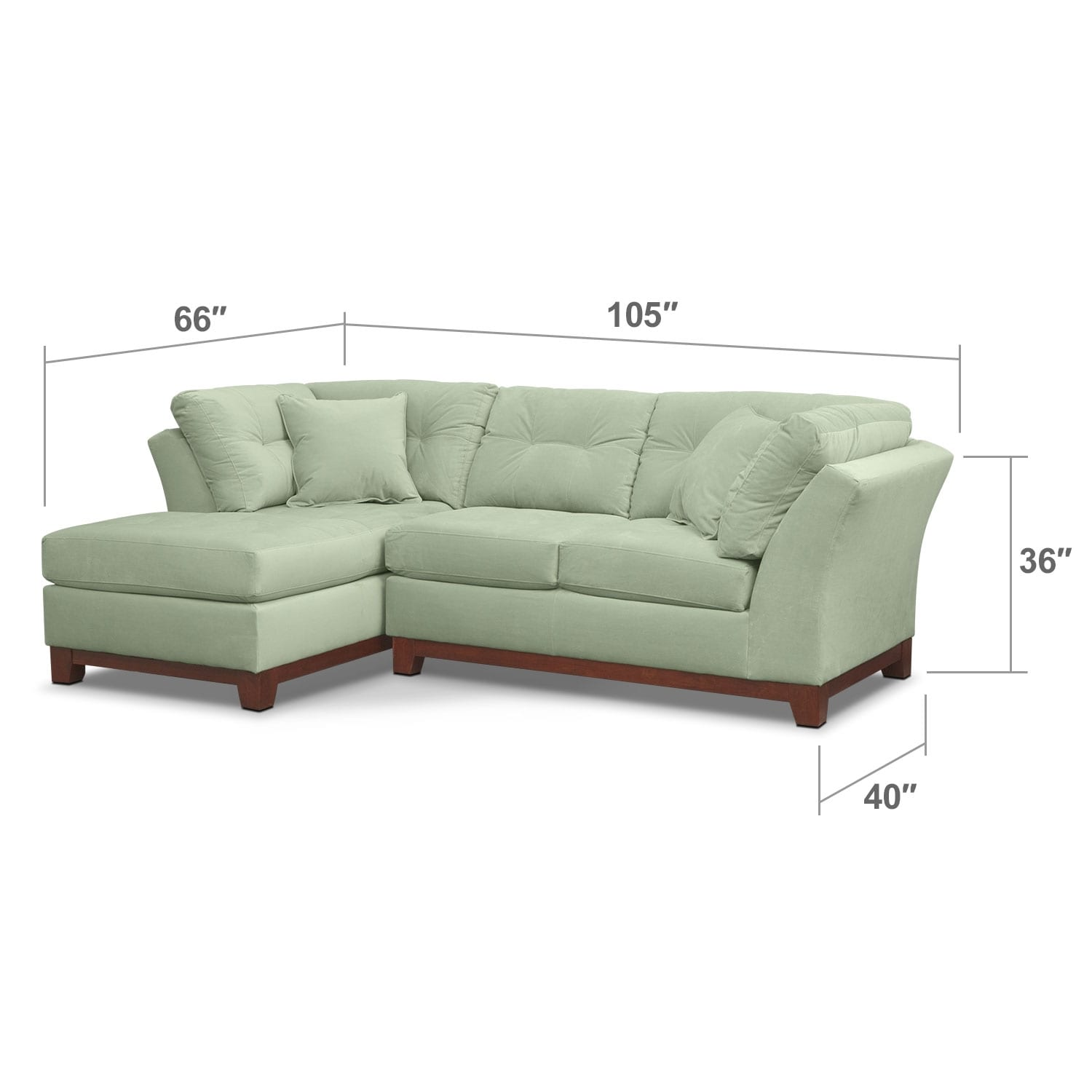 Living Room Furniture - Solace 2-Piece Sectional with Left-Facing Chaise - Spa