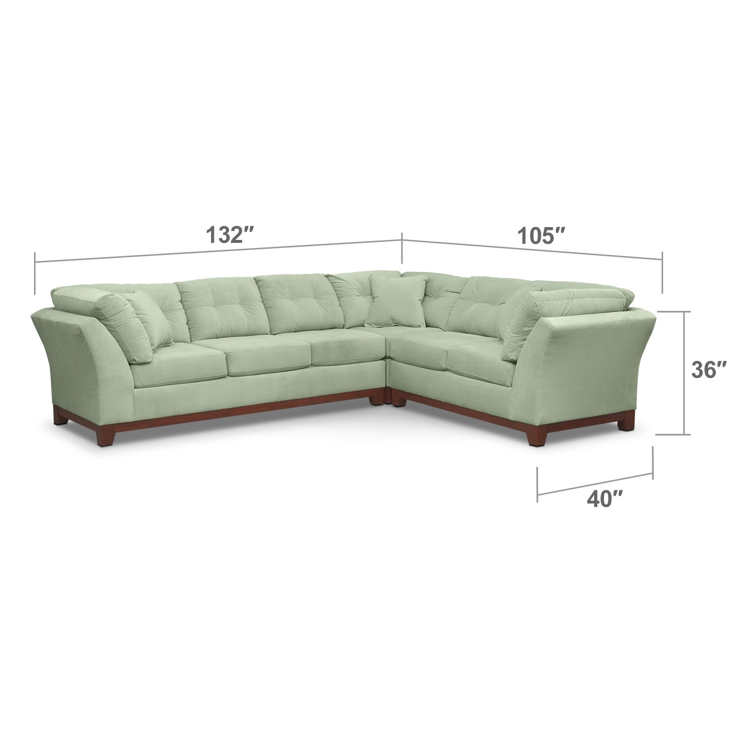 Living Room Furniture - Solace 3-Piece Left-Facing Sofa Sectional - Spa