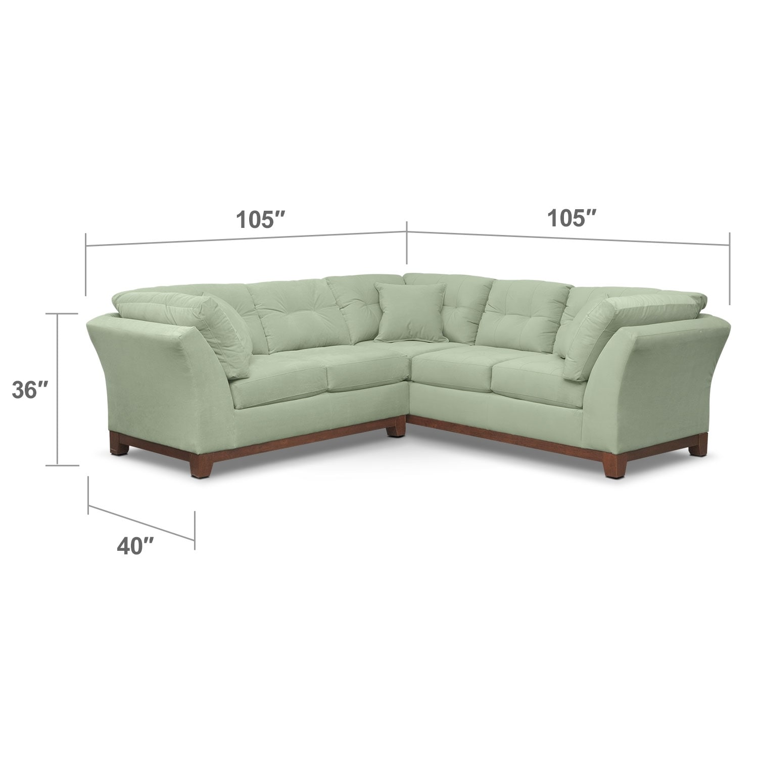 """Living Room Furniture - Solace 2-Piece Right-Facing 105"""" Sofa Sectional - Spa"""