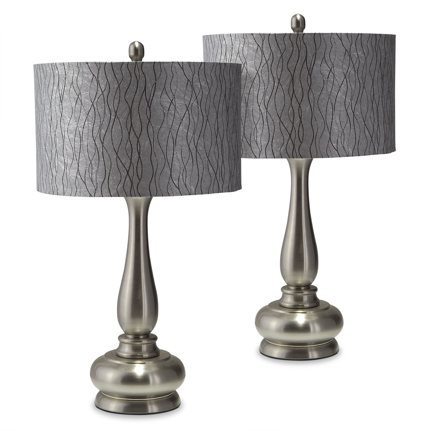 Home Accessories - Metal Silver 2-Pack Table Lamp Set