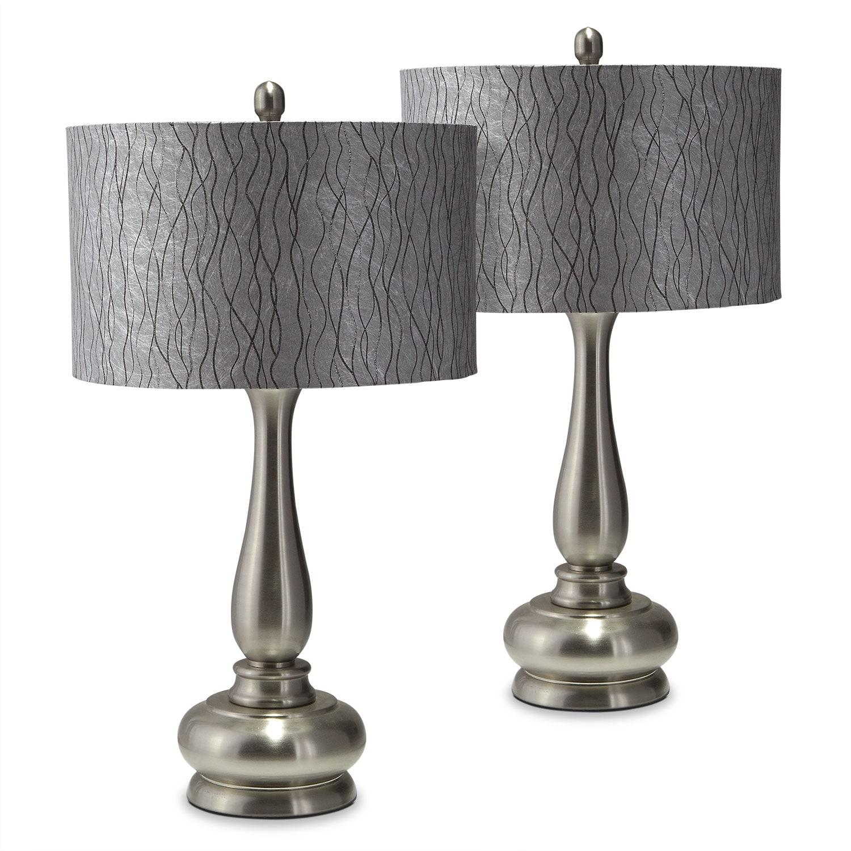 Metal Silver 2-Pack Table Lamp Set