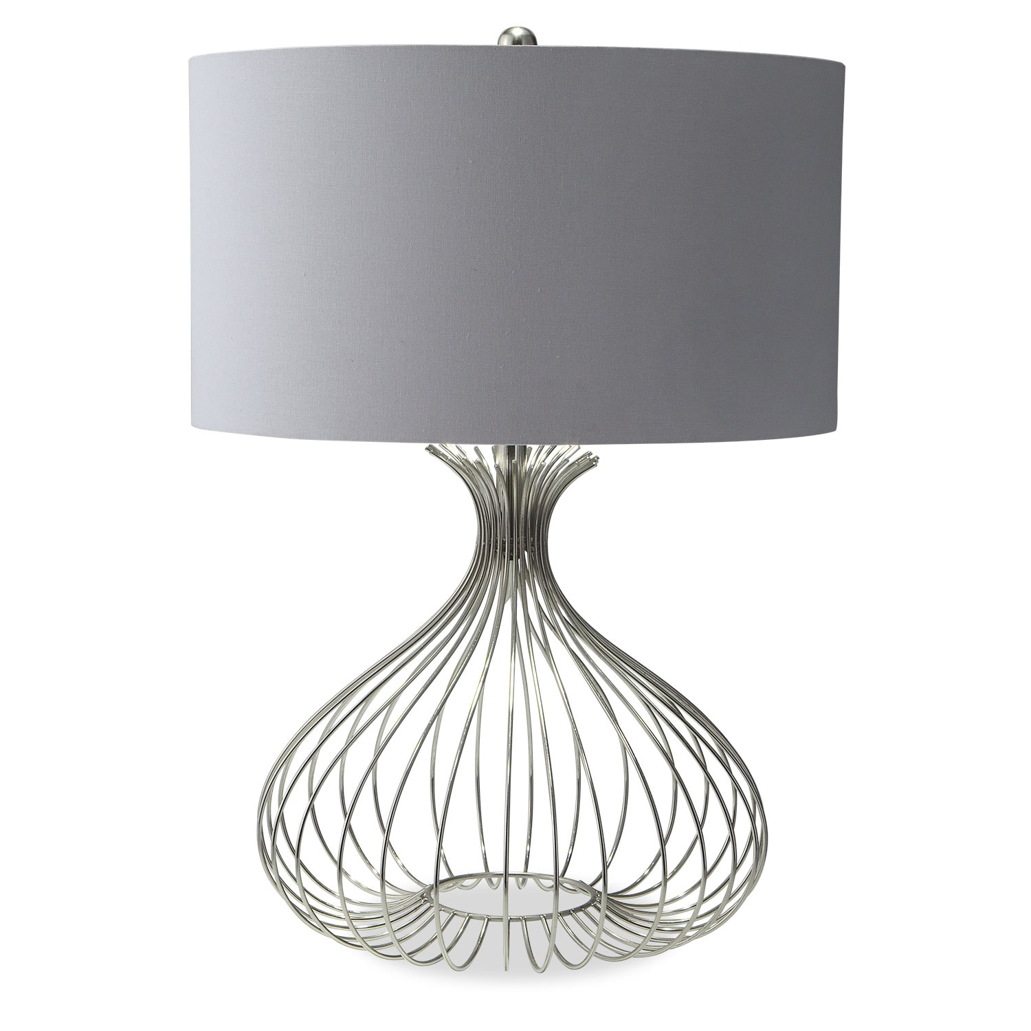 Nickel wire table lamp american signature furniture home accessories nickel wire table lamp greentooth Image collections