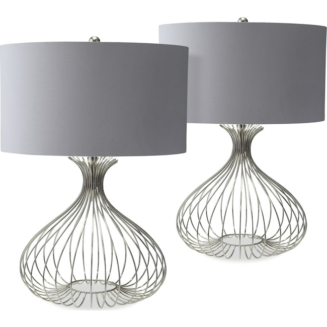 Home Accessories - Nickel Wire 2-Pack Table Lamp Set