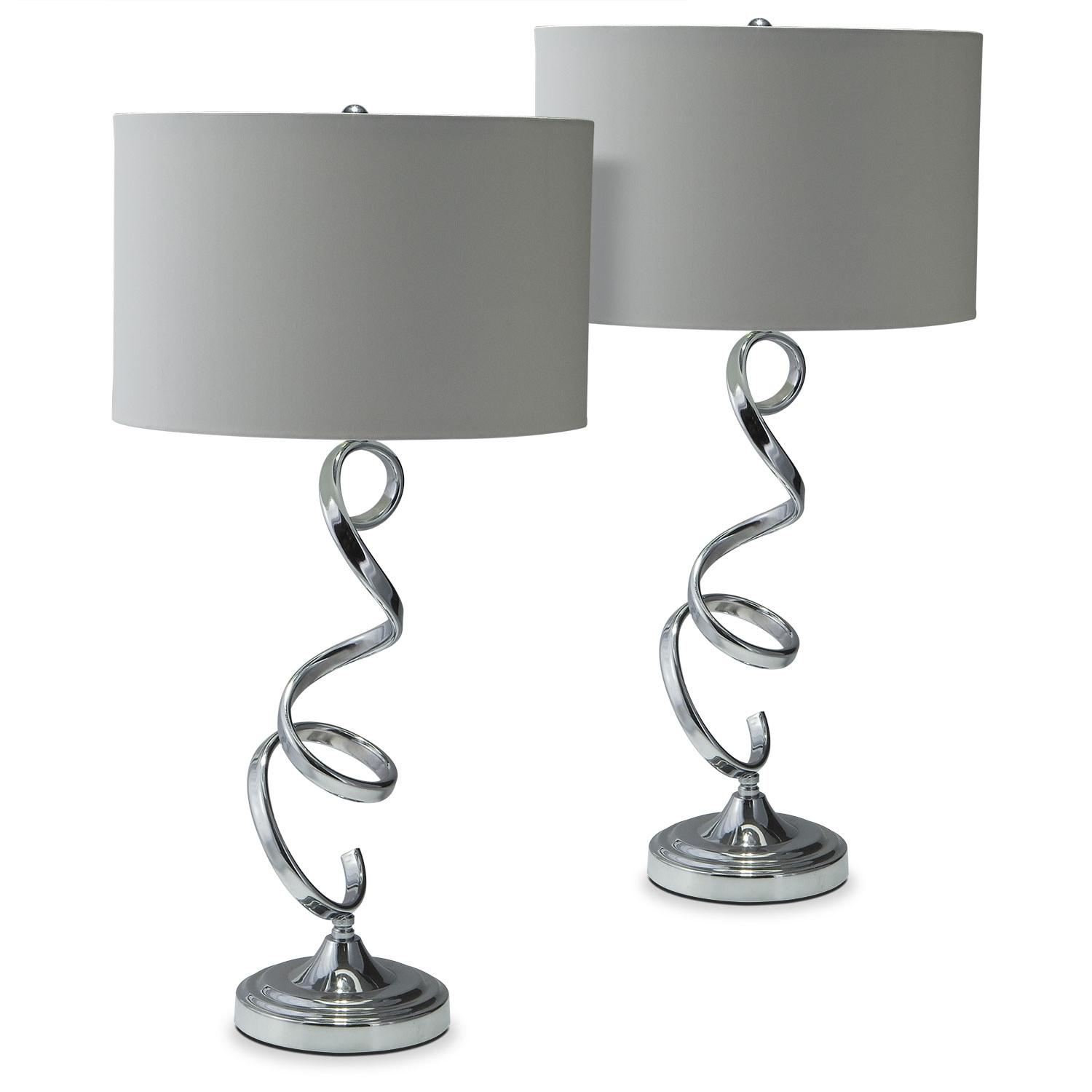 Home Accessories - Nickel Swirl 2-Pack Table Lamp Set