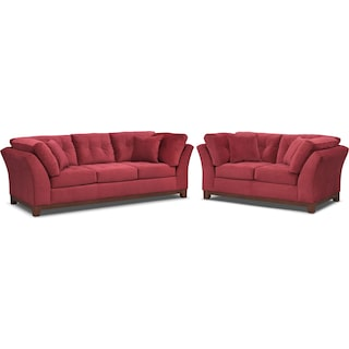 Sebring Sofa and Loveseat Set - Poppy