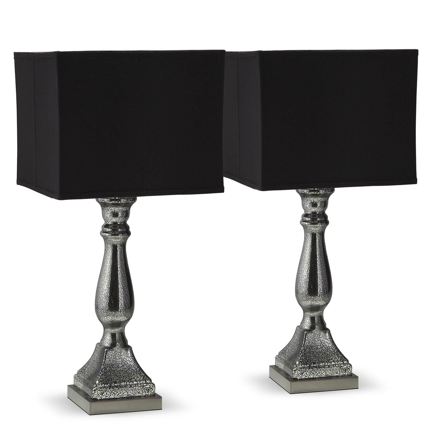 Pick Up End Table Lamps For Living Room Kmart: Silver Black Mercury 2-Pack Table Lamp Set
