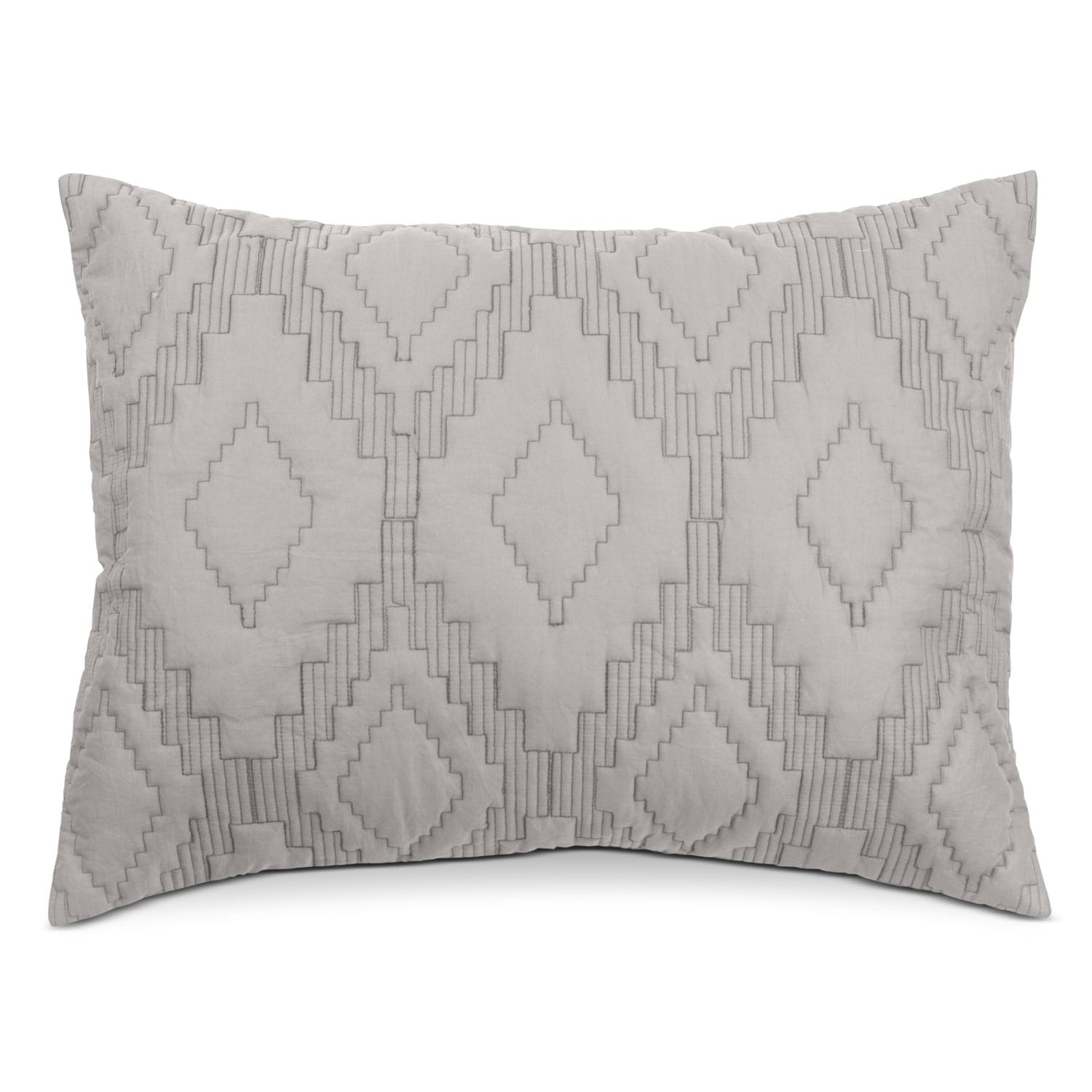Accent and Occasional Furniture - Dapper Quilted Sham - Gray