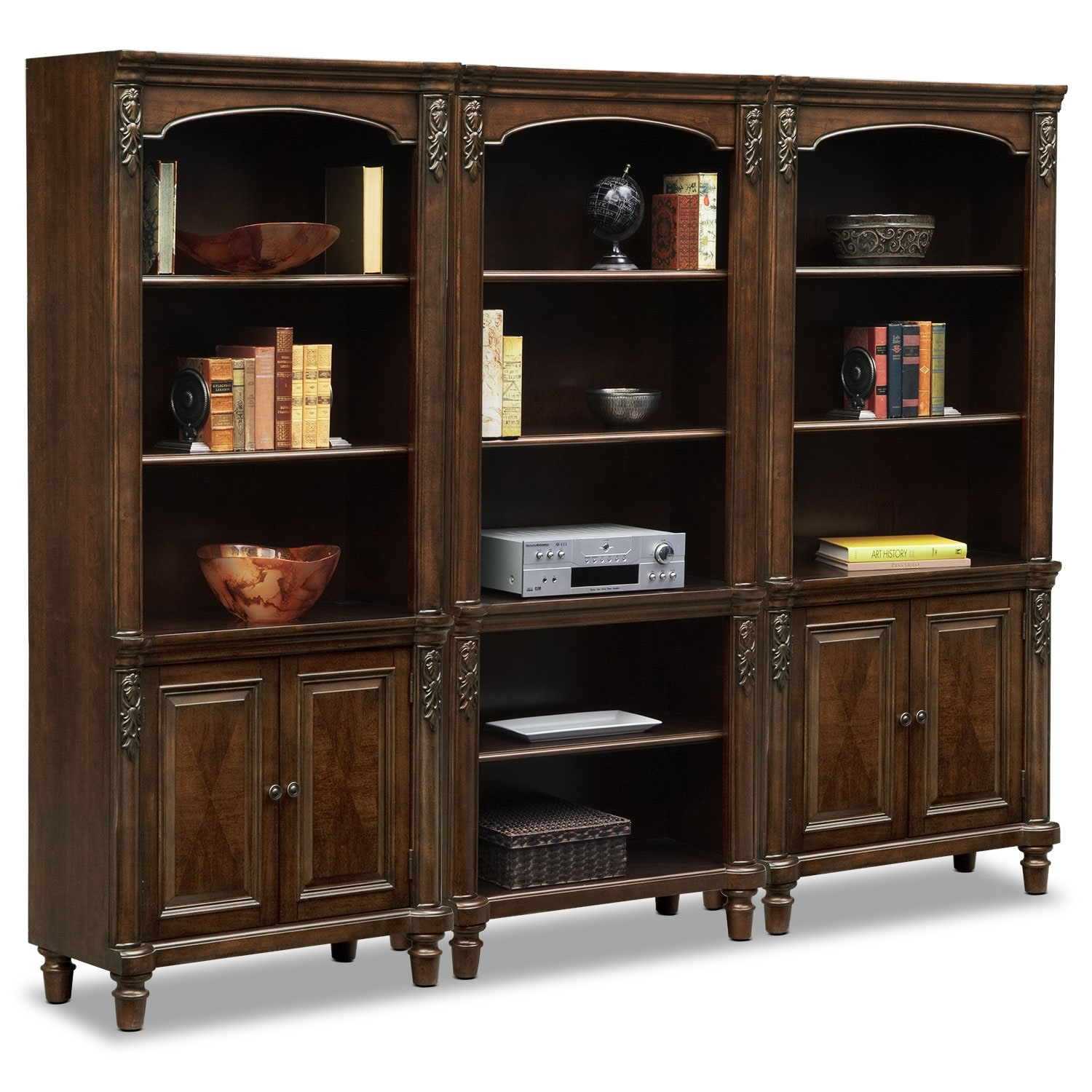 Ashland Wall Bookcase with 2 Cabinets - Cherry