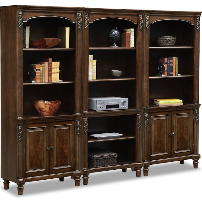 Home Office Furniture - Ashland Wall Bookcase with 2 Cabinets - Cherry