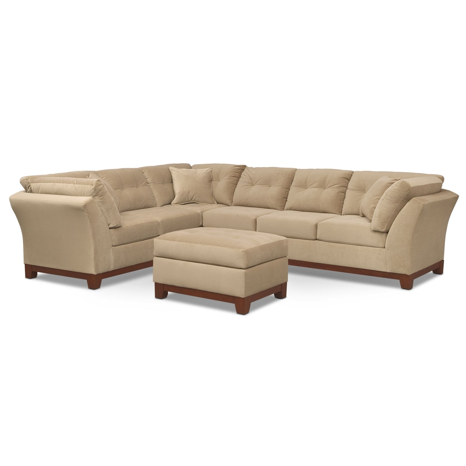 Living Room Furniture - Solace Cocoa II 2 Pc. Sectional and Ottoman