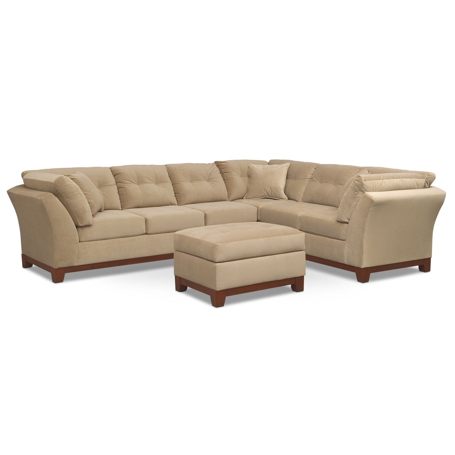 Living Room Furniture - Solace Cocoa II 2 Pc. Sectional (Reverse) and Ottoman