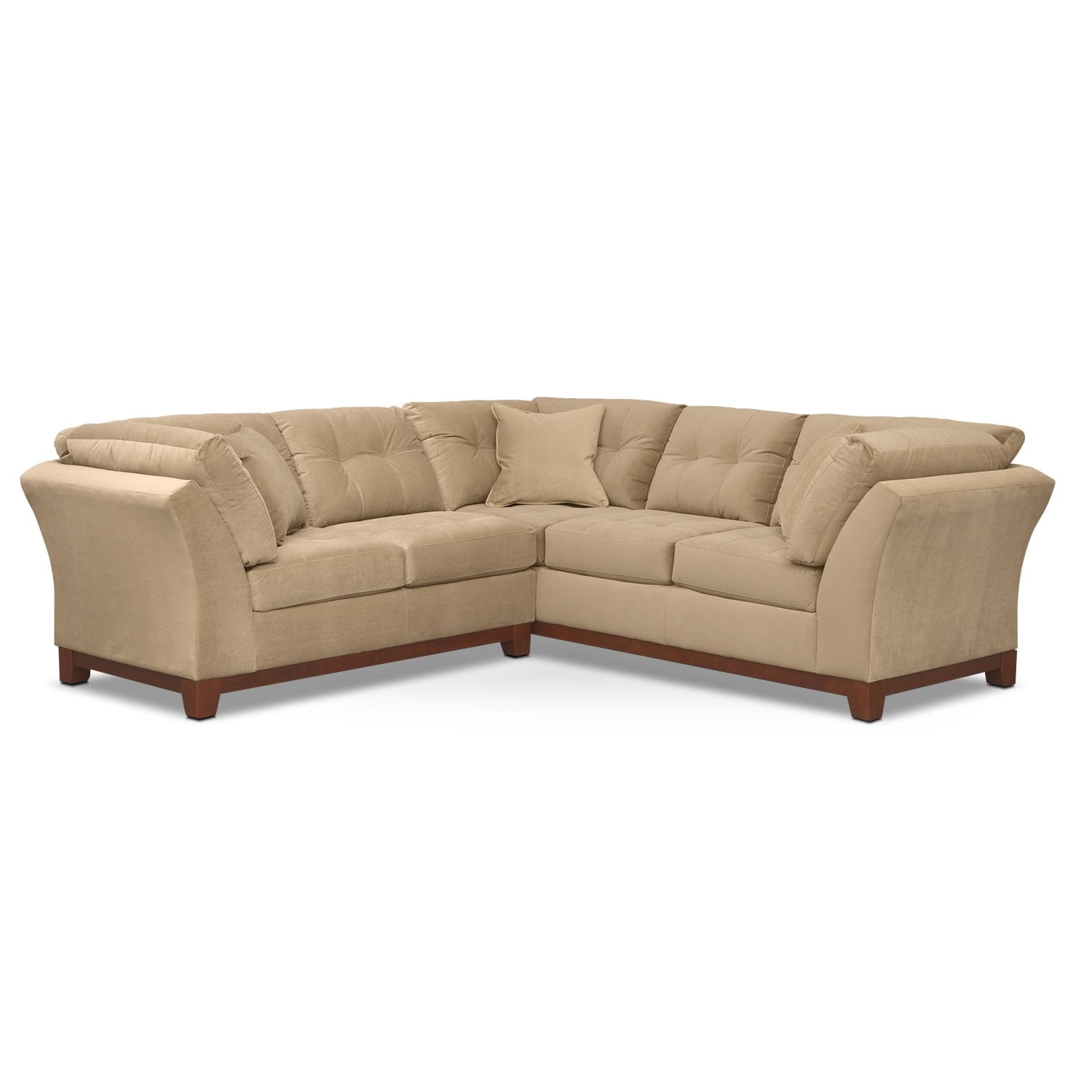"Living Room Furniture - Solace 2-Piece Right-Facing 105"" Sofa Sectional - Cocoa"