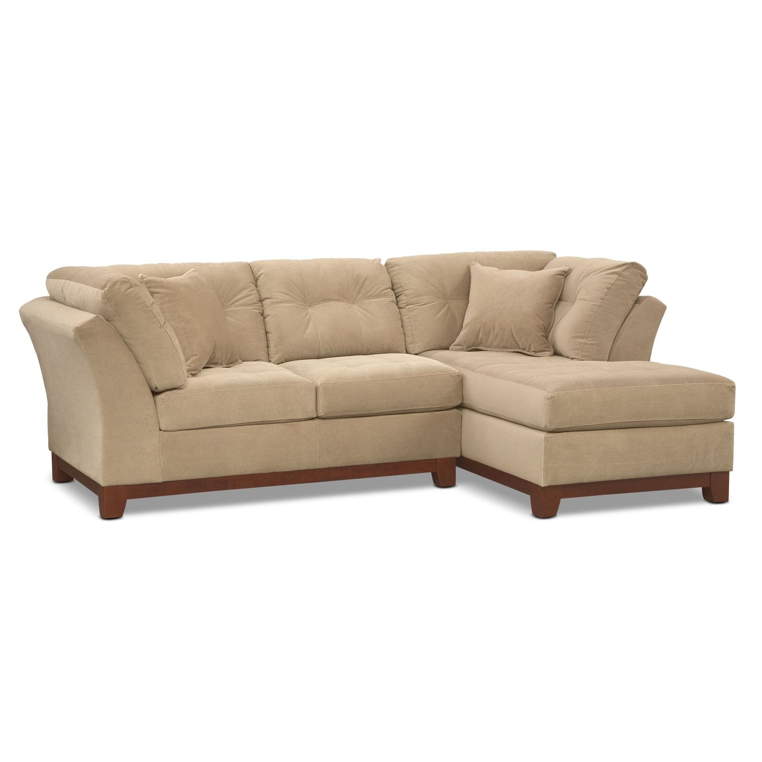 Living Room Furniture - Solace 2-Piece Right-Facing Chaise Sectional - Cocoa