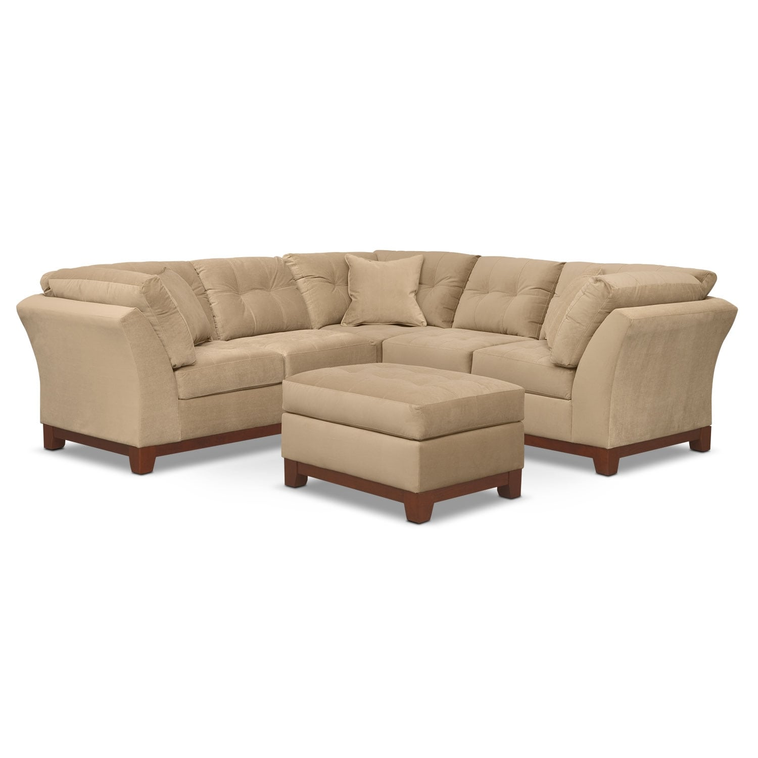Living Room Furniture - Solace Cocoa II 2 Pc. Sectional (Alternate II) and Ottoman