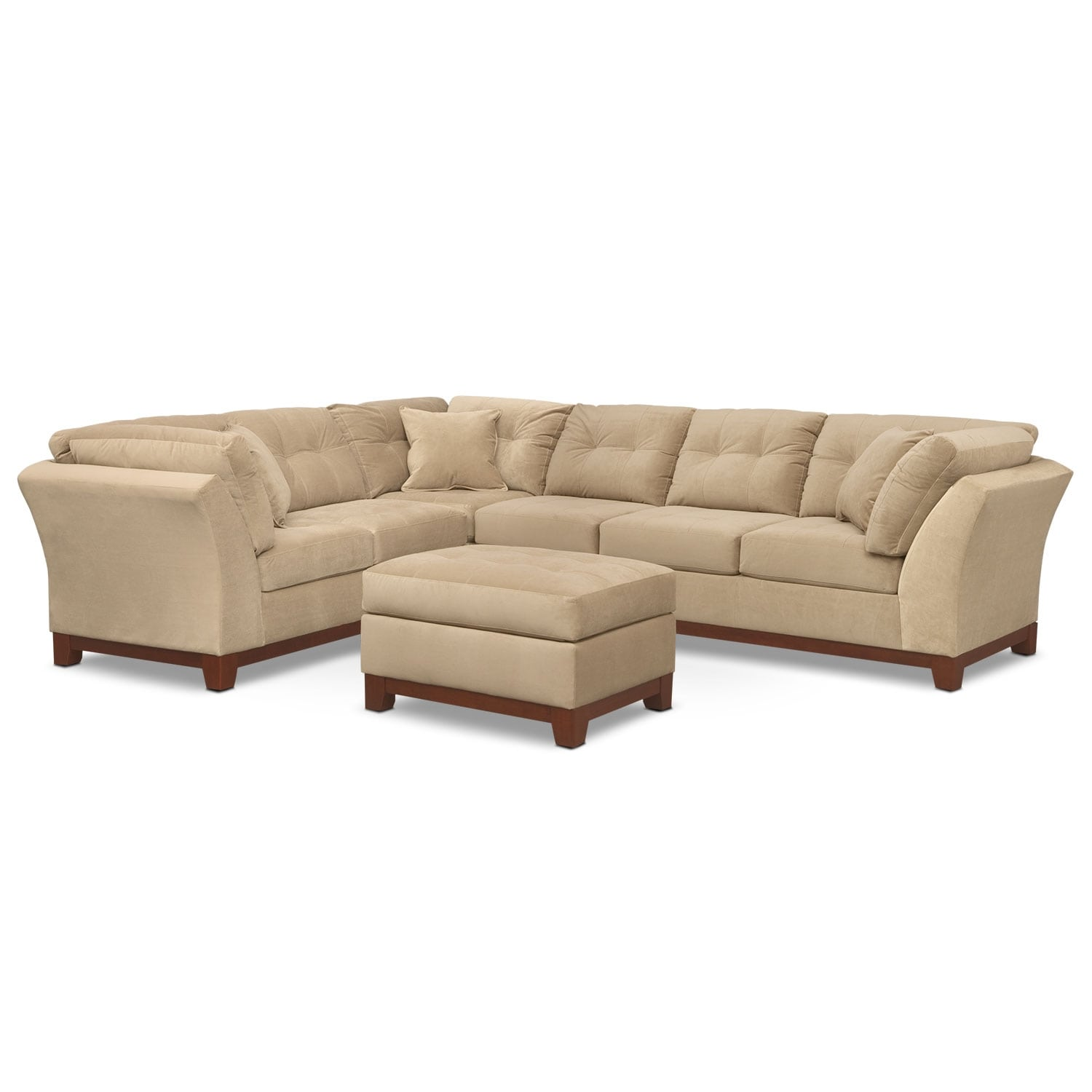 Living Room Furniture - Solace Cocoa II 3 Pc. Sectional and Ottoman