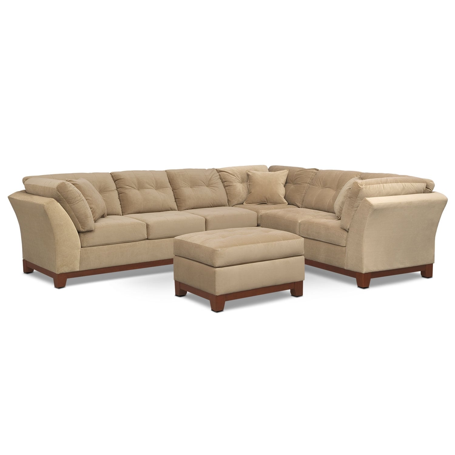 Living Room Furniture - Solace Cocoa II 3 Pc. Sectional (Reverse) and Ottoman