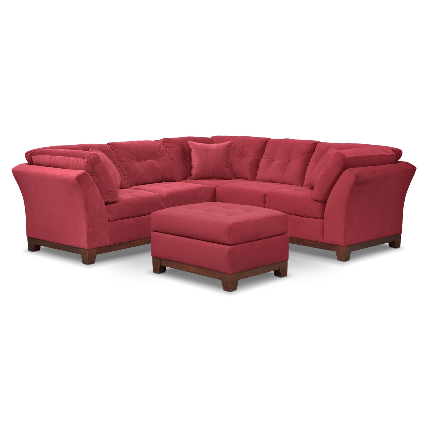 Living Room Furniture - Solace Poppy II 2 Pc. Sectional (Alternate II) and Ottoman
