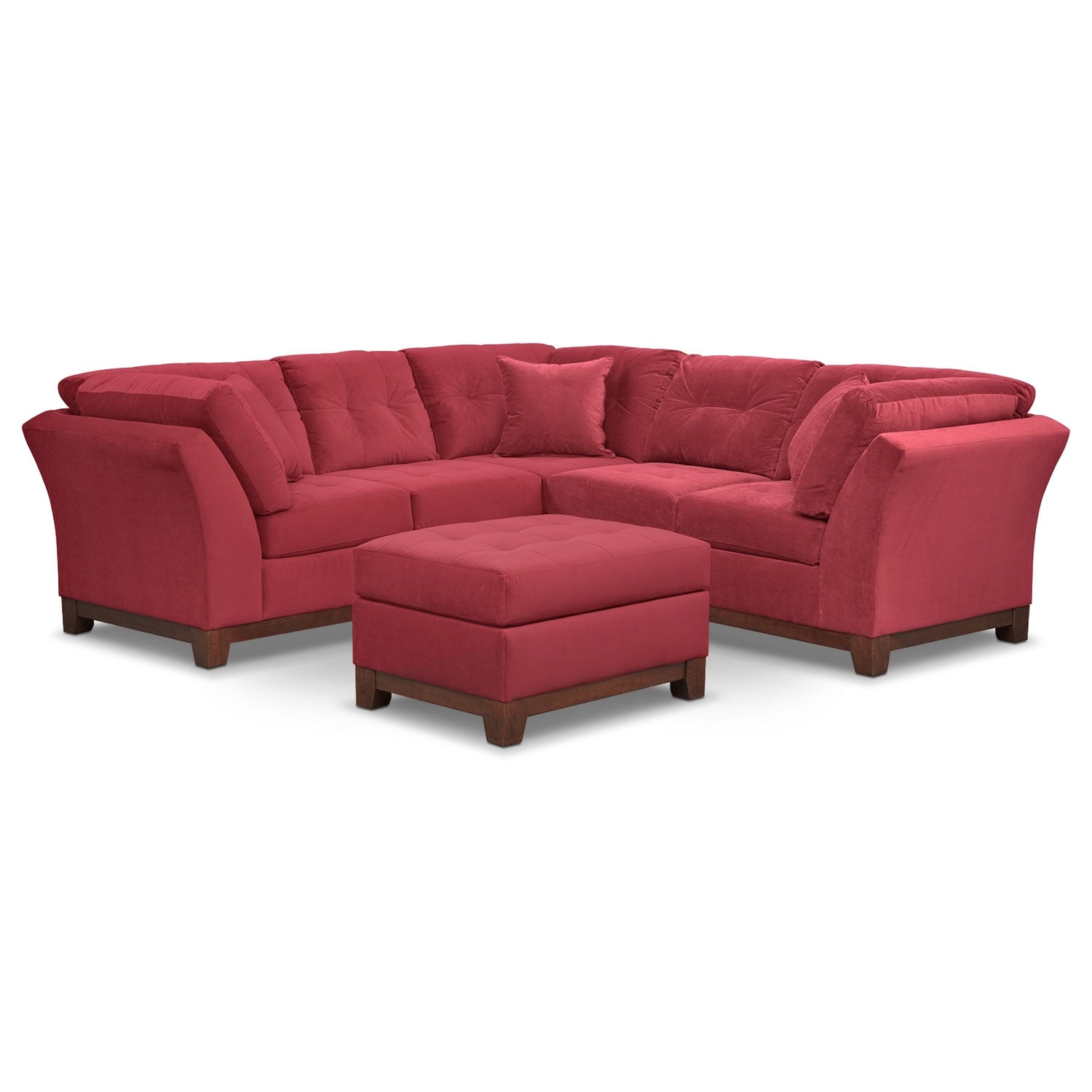 Living Room Furniture - Solace Poppy II 2 Pc. Sectional (Alternate II Reverse) and Ottoman