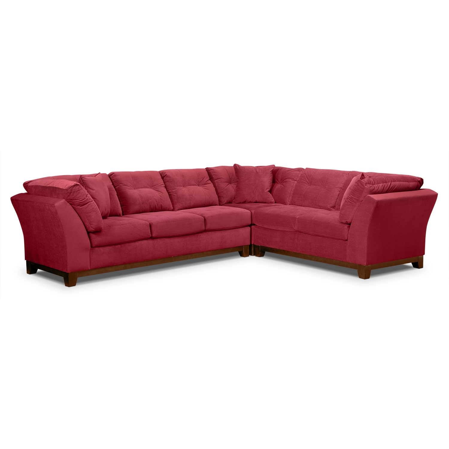 Living Room Furniture - Solace 3-Piece Left-Facing Sofa Sectional - Poppy