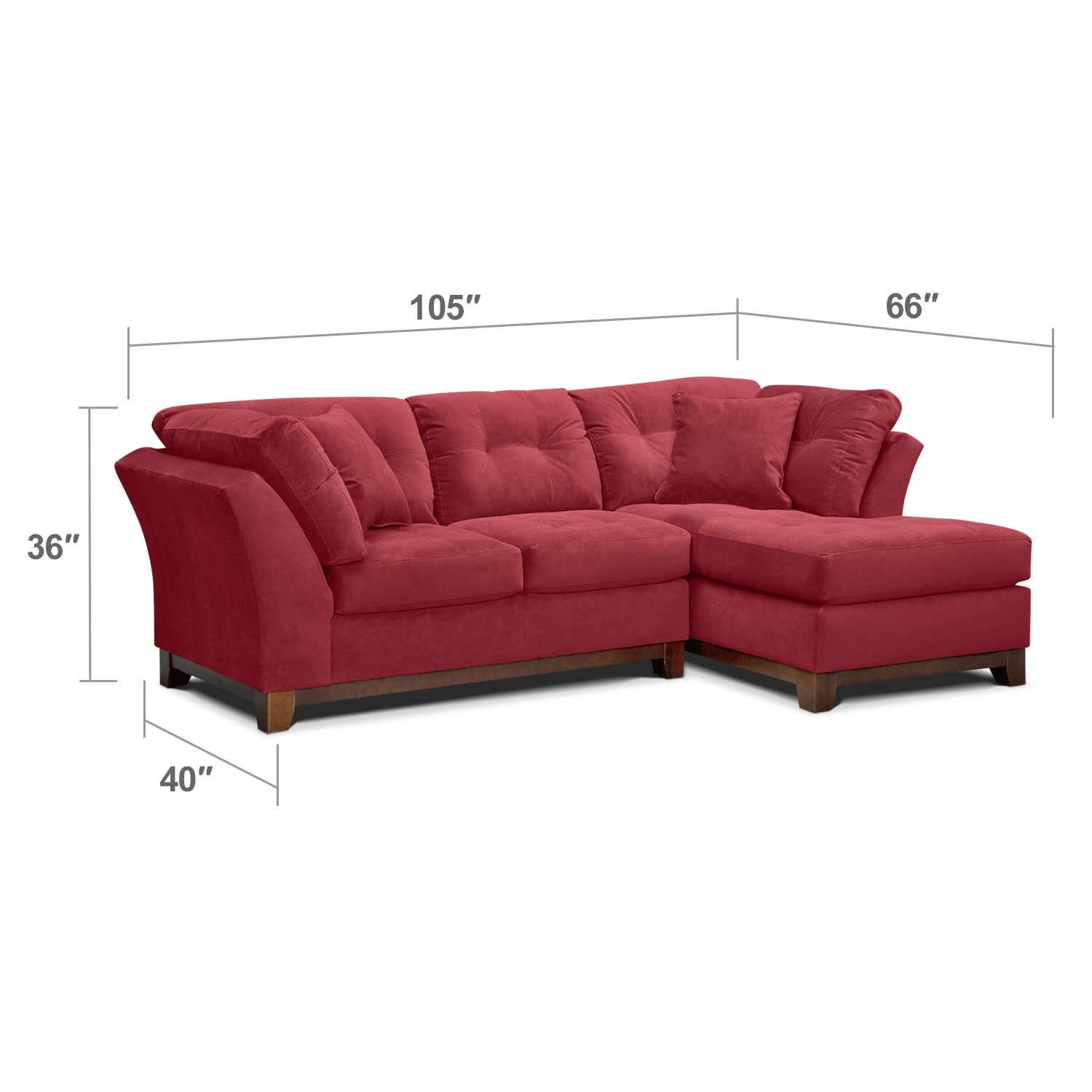 Living Room Furniture - Solace 2-Piece Right-Facing Chaise Sectional - Poppy